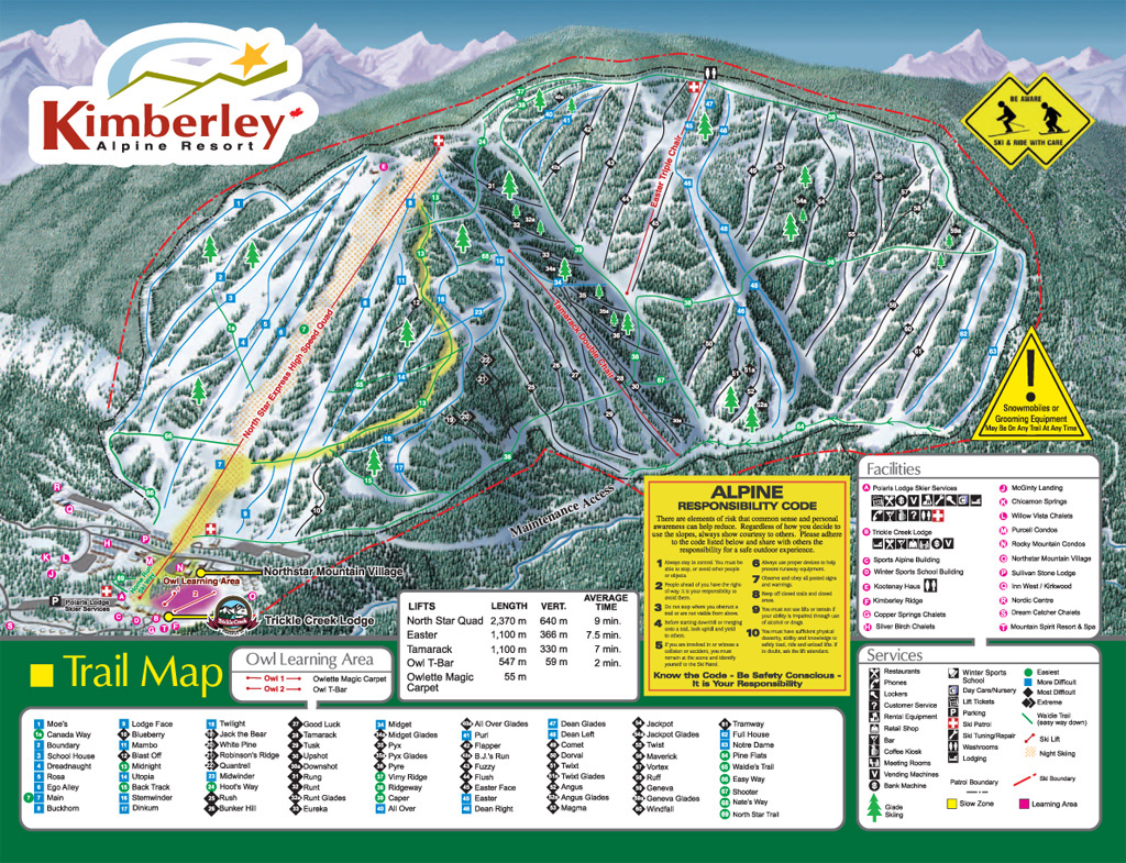Kimberley Piste Map